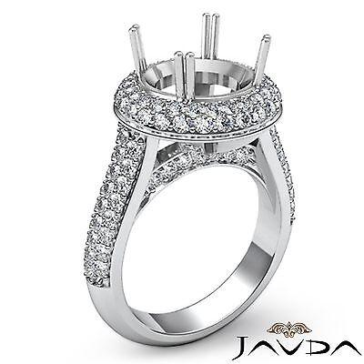 Diamond Engagement Ring 2 Row Halo Pave 18k White Gold Round Semi Mount 1.5Ct 2 Row Pave Diamond