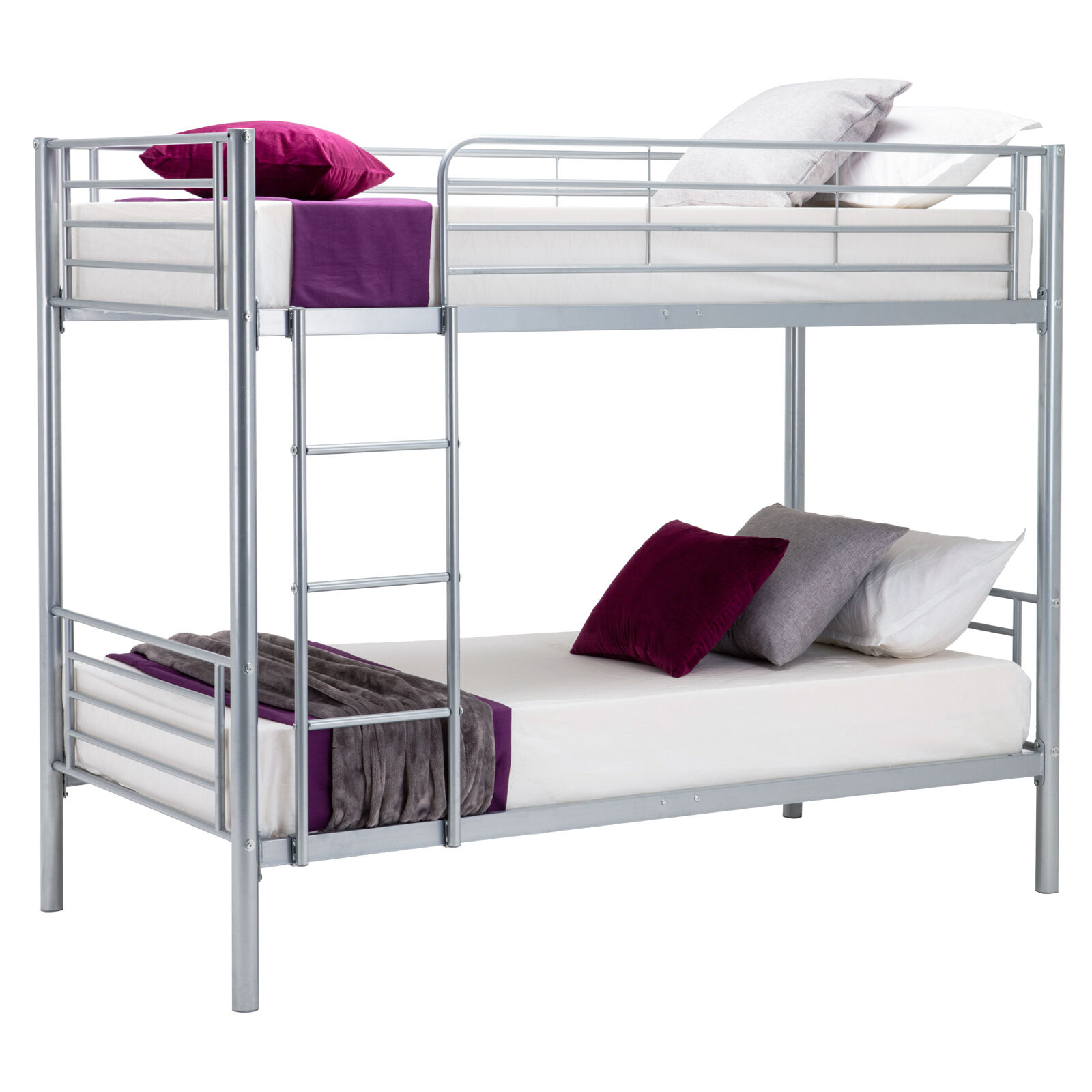 Modern 2x3ft single silver metal bunk bed frame 2 person for Bunk bed frame with mattress