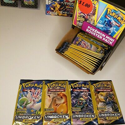 (4) Pokemon Sun & Moon Unbroken Bonds 3 Card Dollar Store Booster Packs (fr:Box)
