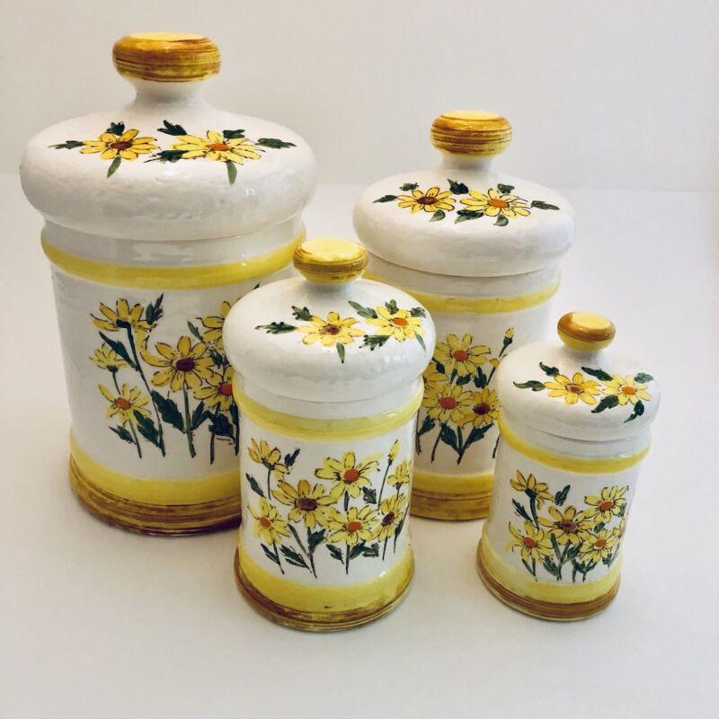 Vintage 1978 Sears Roebuck & Company Japan Yellow Daisy Ceramic Canister Set 4