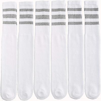 12-Pairs 1-Dozen White Tube Socks Striped Grey Retro Old School Throwback Style