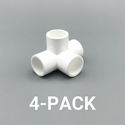 """1/2"""" inch 4-Way Tee PVC Fitting Connector Elbow - 4-Pack - PB0504W-4P"""