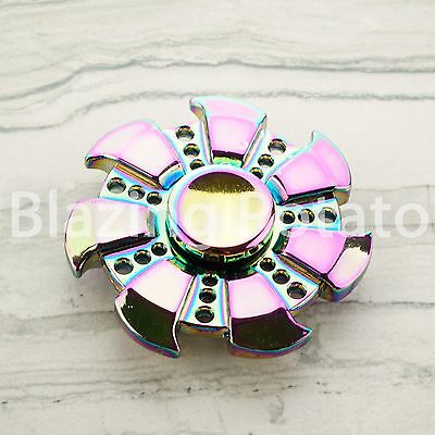 RAINBOW Hand Spinner Tri Spinners Figet Desk Toy Focus EDC ADHD -NEW- ☆USA☆ #C