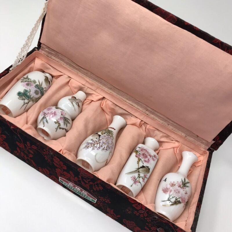 Set of 5 Jingdezhen Egg Shell Porcelain Miniature Vases in Presentation Box