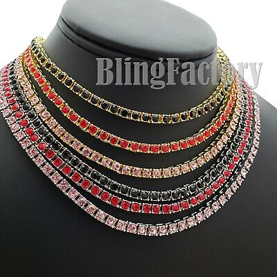 HIP HOP UNISEX ICED COLORFUL BUST DOWN 1 ROW DIAMOND TENNIS CHAIN BLING NECKLACE