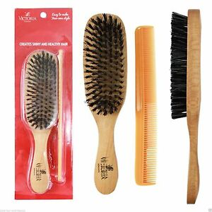 MENS Club Beard & Hair Brush Natural Boar Bristles Hard Wooden Brush & Comb