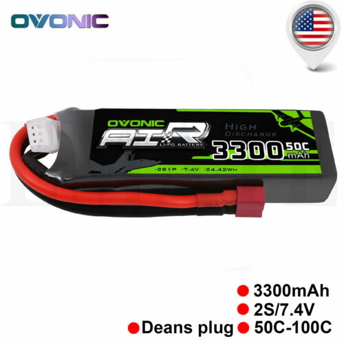 OVONIC 3300mAh  7.4V 50C 2S Lipo Battery w/ Deans plug for R