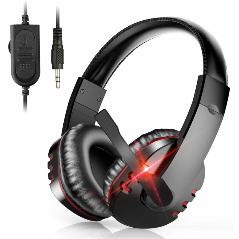 Pro Gamer Headset For PS4 PlayStation 4 Xbox One & PC Computer Red Headphones