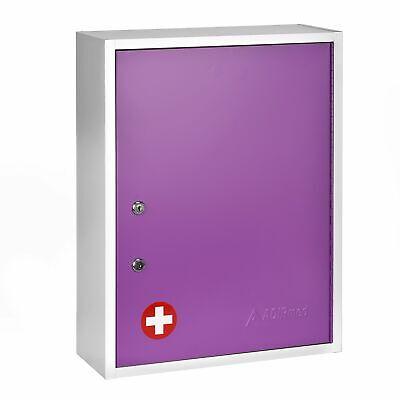 Adirmed Purple Steel Wall Mount Dual Lock Medical Security Medicine Cabinet