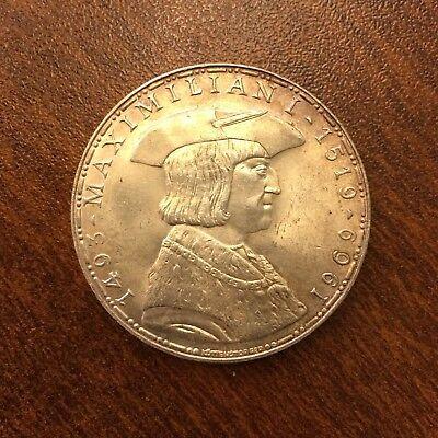 1969 Austria 50 Shilling Silver Maximilian I