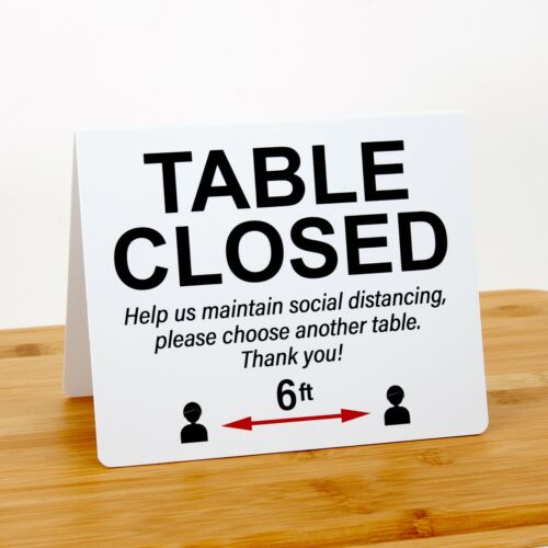 """Social Distancing Signs """"Table Closed"""", Plastic, 24pk, Free Shipping"""