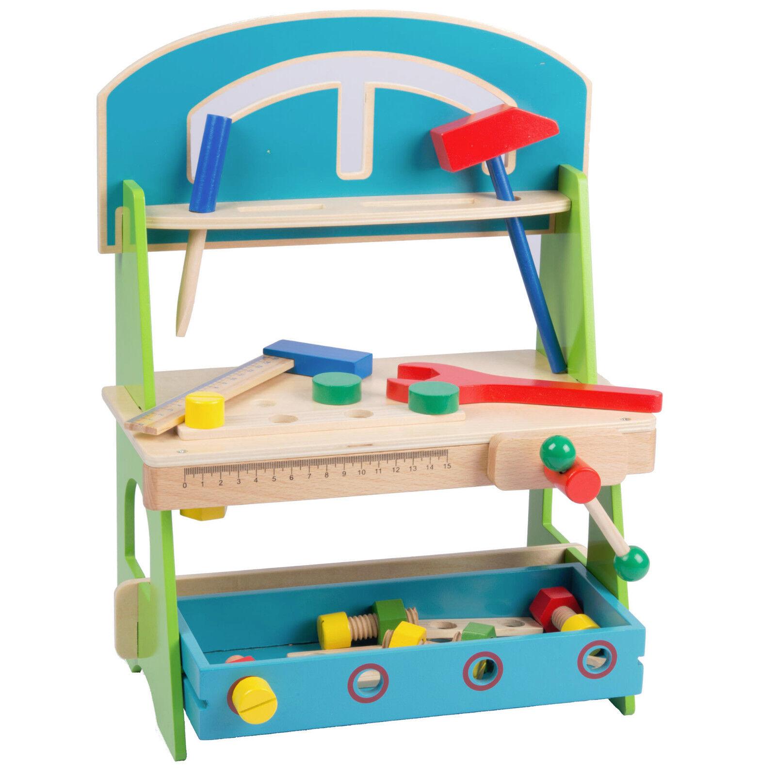 Holz Werkbank für Kinder Baumeister Kinderwerkbank Werkzeugbank Werkstatt Hammer