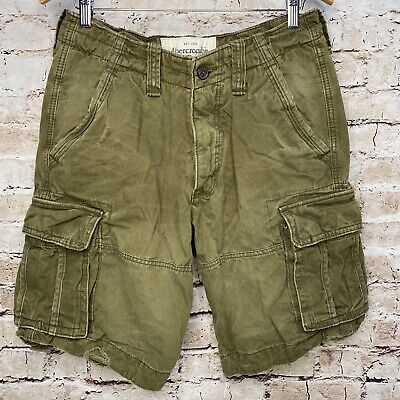 ABERCROMBIE & FITCH MENS DISTRESSED CARGO SHORTS SIZE 30 ARMY GREEN