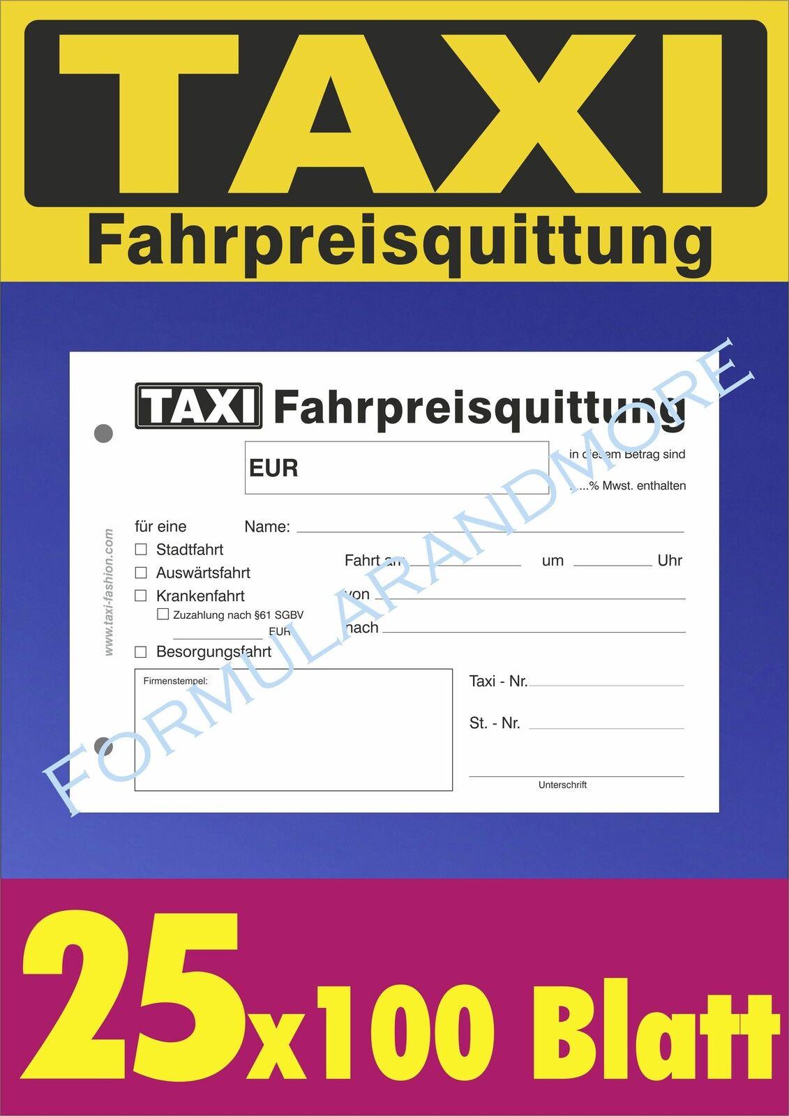 gelocht 2 x 50 Blatt DIN A6 Taxi-Fahrpreisquittung als Block SD -durchschreibend 20x Taxiquittung 22428