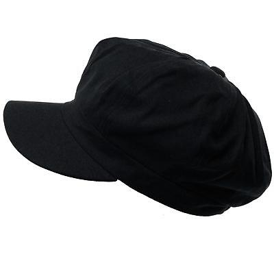 Summer 100% Cotton Plain Blank 6 Panel Newsboy Gatsby Apple Cabbie Cap Hat (Black Summer Hat)
