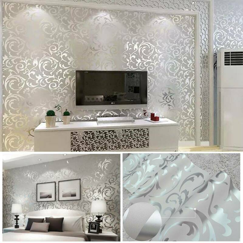 Home Decoration - 3D Home Decor Metallic Textured Damask Embossed Wallpaper SoftSilver Glitter