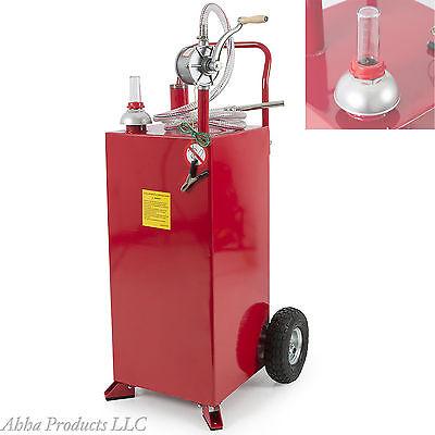 Portable 30 Gallon Gas Caddy Fuel Storage Tank Container Pump Transfer Wheel Car