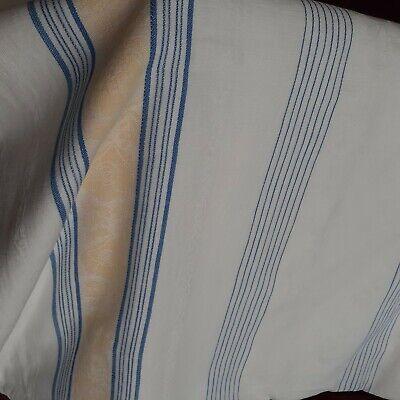 VTG Woven Cotton Fabric Tablecloth, Blue & Yellow Stripes on White, Farmhouse