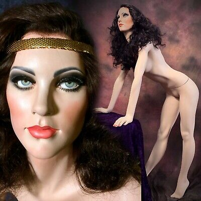 Greneker Mannequin Woman Female Wonder Leaning Glass Eyes Full Realistic Vintage