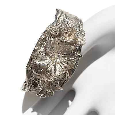 Vintage Silver Filigree Signed Floral Flower Cuff Bracelet Signed