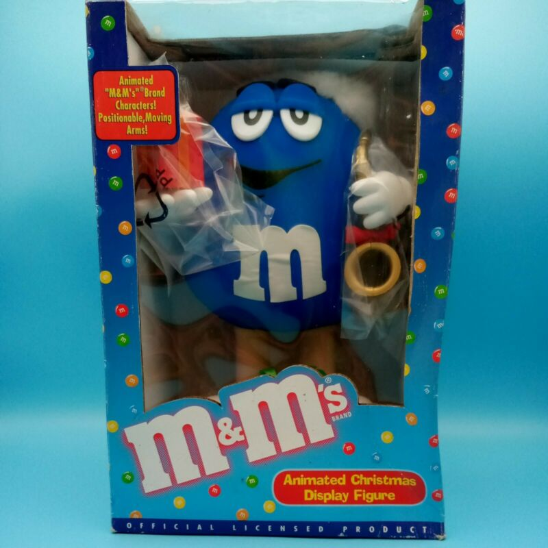 Vintage Telco Blue M&M Motion Animated Christmas Gifts W/Tags & Box Works Tested