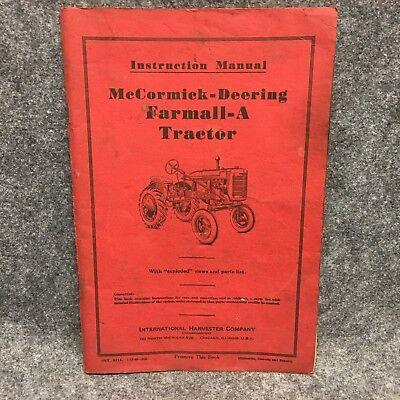 1940 Original Mccormick-deering Farmall-a Tractor Instruction Manual Guide 35646