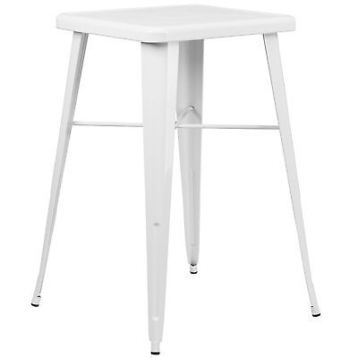"""24"""" Square Industrial Style Cafe Restaurant Outdoor 40"""" High Bar Table White"""