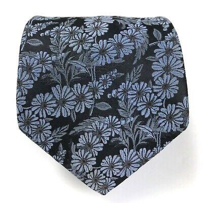 Ike Behar Black Grayish Blue Floral Tie 100% Silk Hand Tailored Mens Necktie
