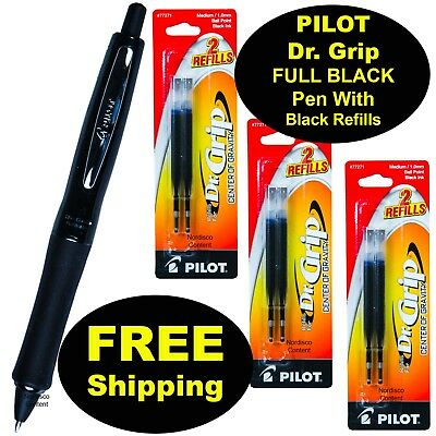 Pilot Dr. Grip Full Black Pen With Black Ink Refills 1.0mm Medium Point