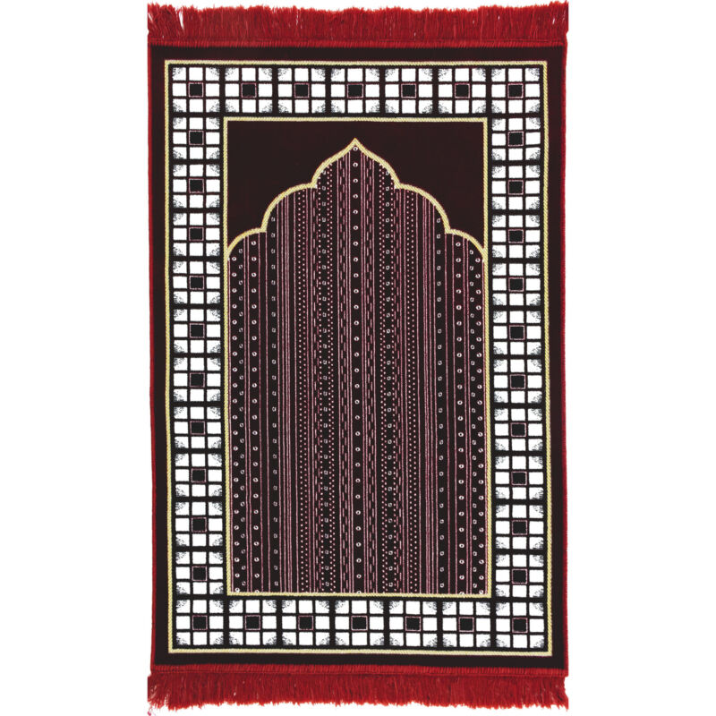 Modefa Islamic Muslim Janamaz Sajadah Velvet Vined Arch Islamic Prayer Rug - Red