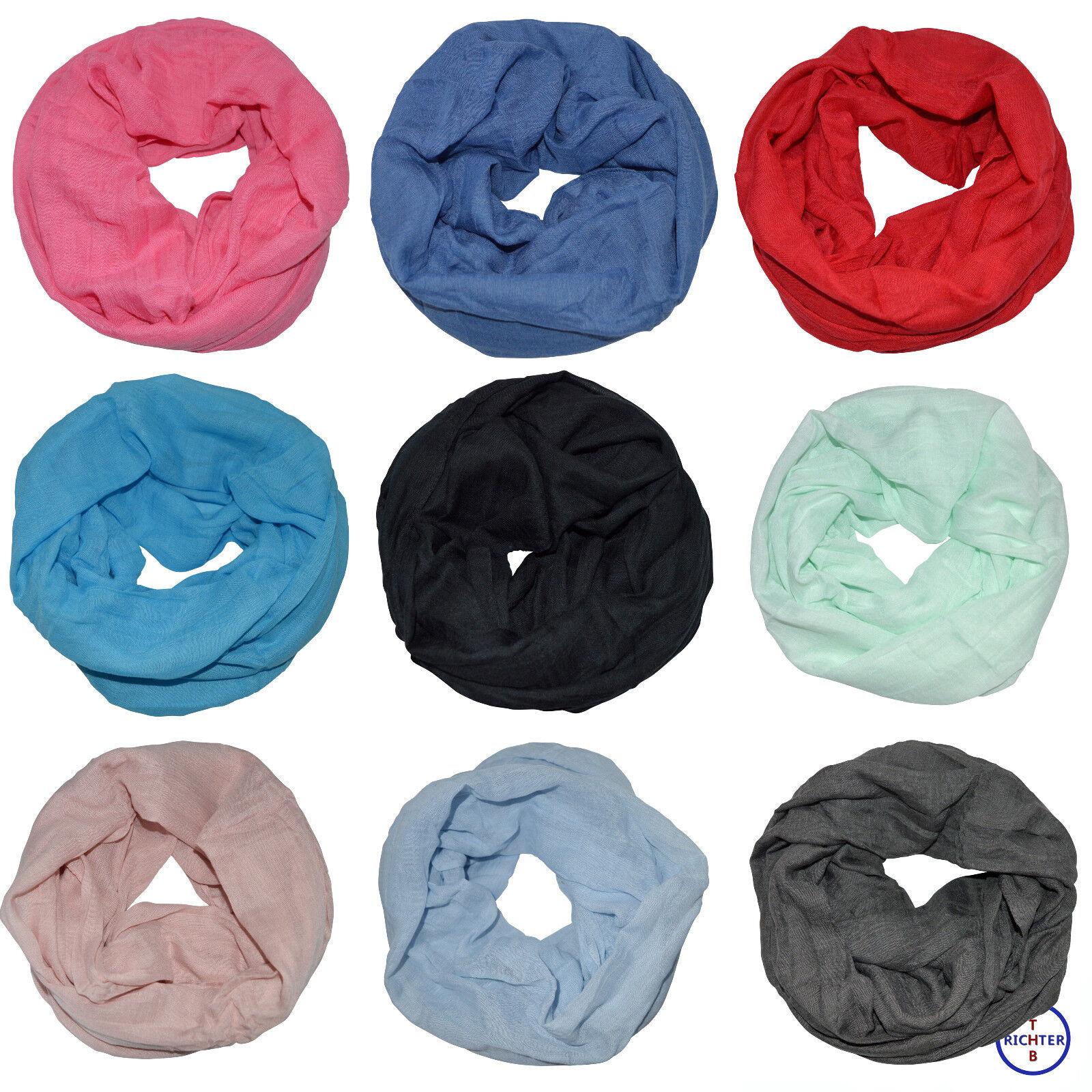 Damen Loopschal Schlauchschal Rundschal unifarben einfarbig basic Uni Schal Loop