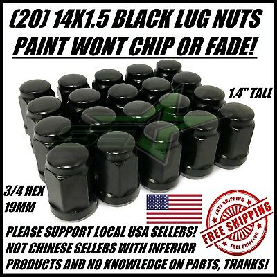 20 BLACK LUG NUTS 14X1.5 | DODGE CHALLENGER CHARGER HELLCAT CHEVY CAMARO SS ZL1