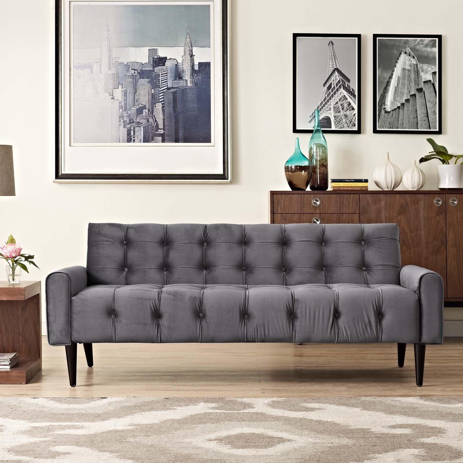 Modern button tufted upholstered velvet living room sofa couch in gray