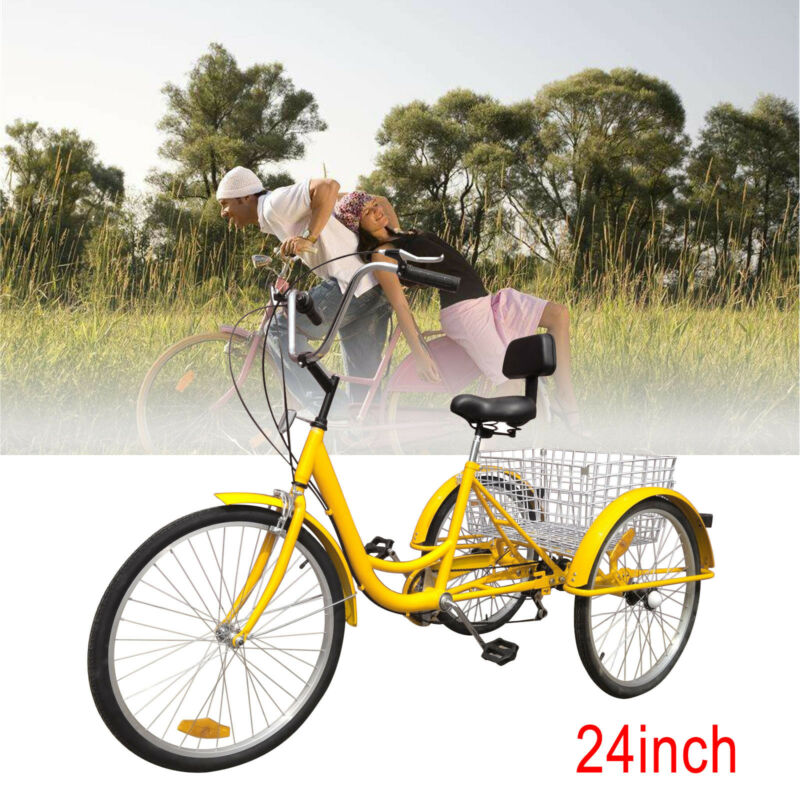 "Yellow 6-Speed 24"" 3 Wheel Adult Bicycle Tricycle Cruise Bik"