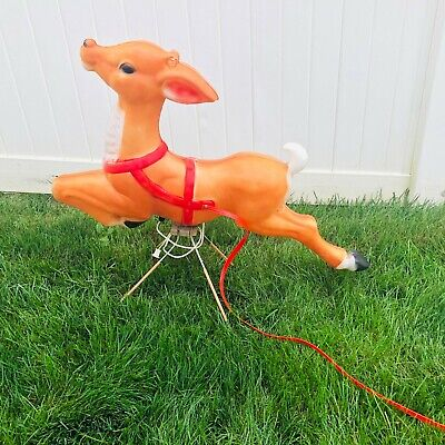"""Vintage Christmas Empire Blow Mold One Giant Reindeer 34"""" w stand"""