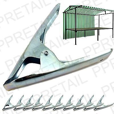 12 x MARKET STALL SPRING CLAMPS LARGE METAL HEAVY DUTY CLIPS Tarpaulin Sheet