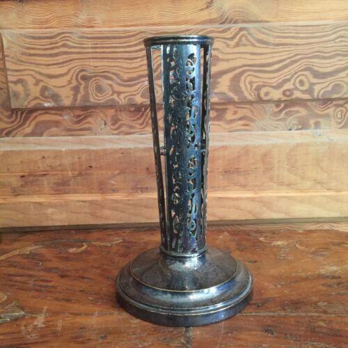 Vintage Silver Plate Filigree Trumpet Vase Holder
