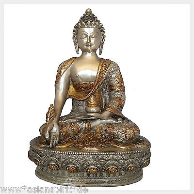 Medizinbuddha Silber Messing 33 cm ca. 4 KG Figur Nepal Tibet Indien Buddhismus