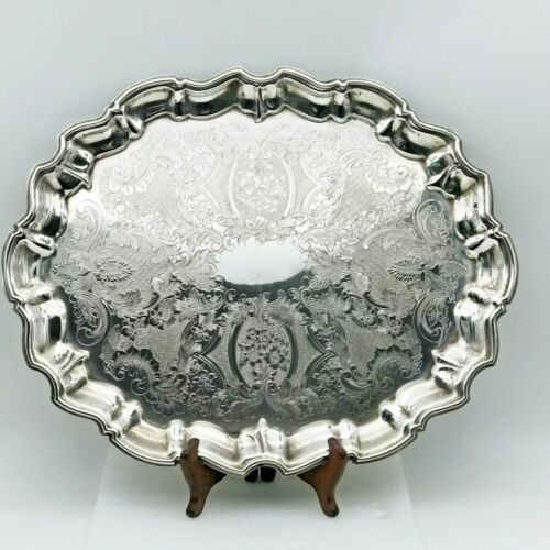 VINTAGE SILVER PLATE VICTORIAN STYLE LARGE TRAY by FALSTAFF APPROX 46CM X 36CM
