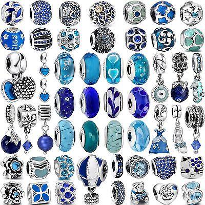 Pop Hot Fashion Charms Blue Bead For Women 925 Sterling Silver Bracelets Bangle - Hot Blue Bracelet Charms