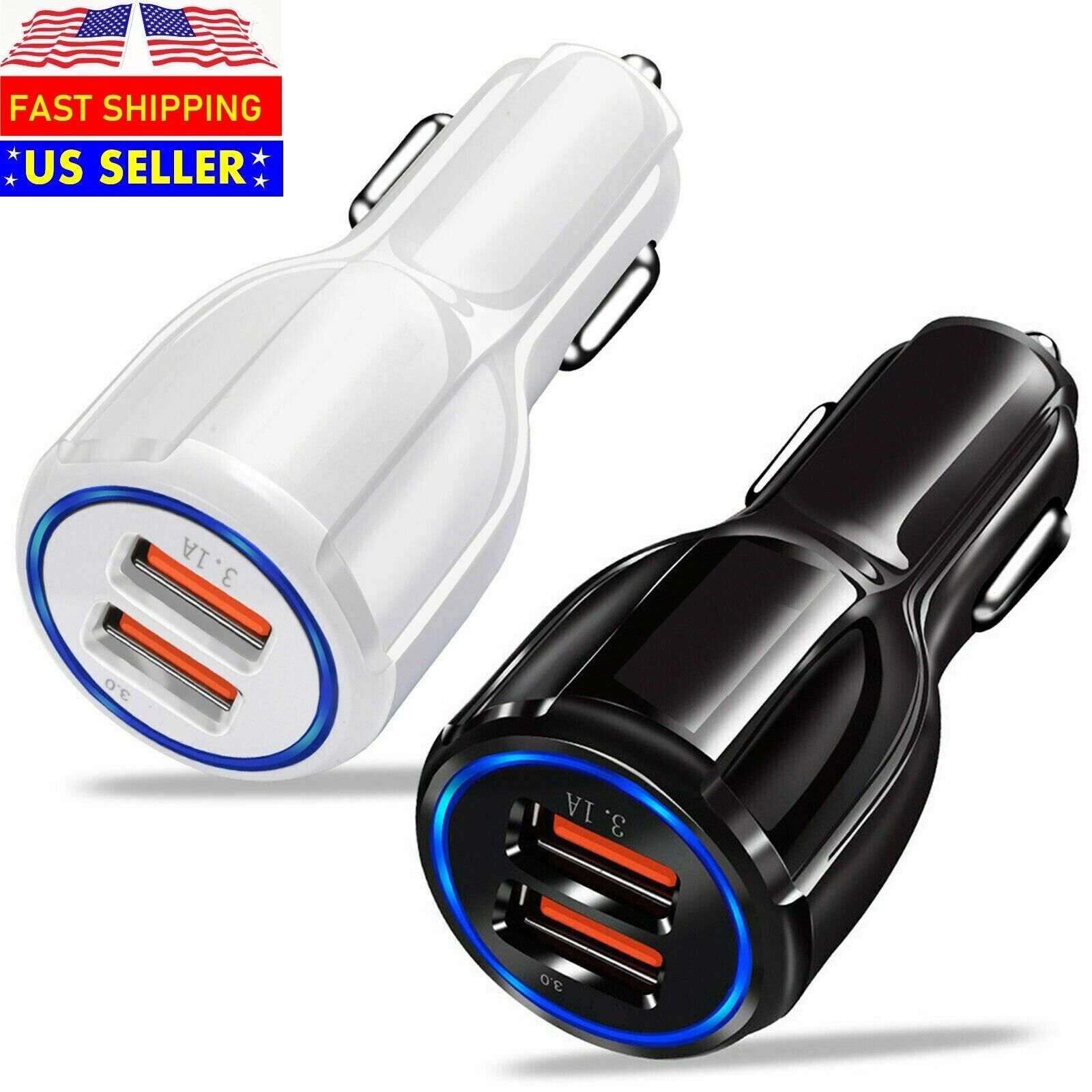 USB Fast Quick CAR Charger Adapter for Android Samsung LG iPhone Pixel iPad Cell Phone Accessories