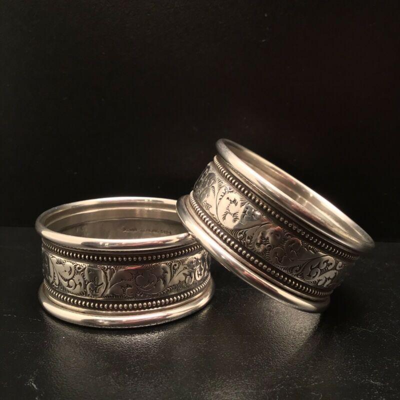 Alvin Sterling Silver S17-1 Napkin Rings, Set of 2, Vintage