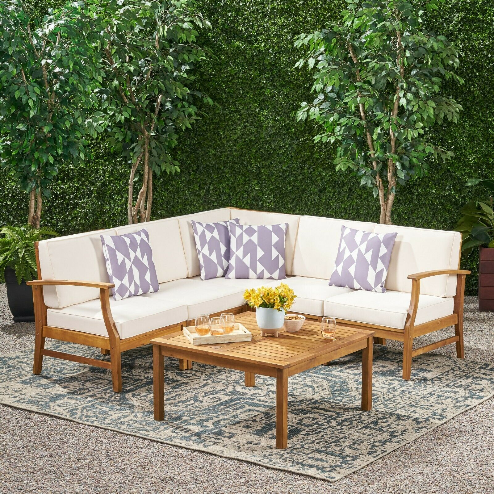 Capri Modern Outdoor Teak Acacia Wood Sectional Sofa Set with Cushions Home & Garden