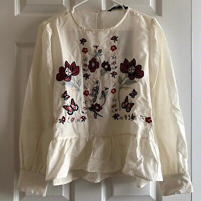 NWT ZARA White Embroidered Floral Blouse Size L
