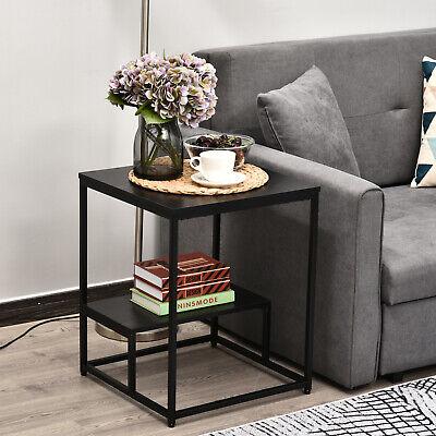 HOMCOM 2-Tier Modern Coffee Table Metal Frame w/ Shelf Adjustable Feet Black