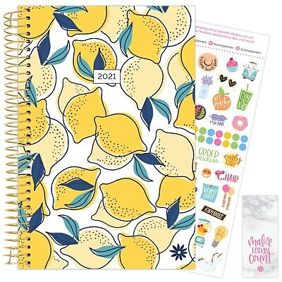 2021 Lemons Calendar Year Daily Planner Agenda 12 Month January - December Bloom