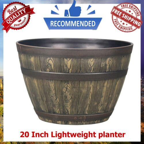 20 Inch Resin Barrel Planter Indoor Outdoor Garden Decor Large Flower Plant Pot