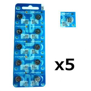 5 x Renata 371 1.55v Watch Cell Batteries SR920SW Mercury Free