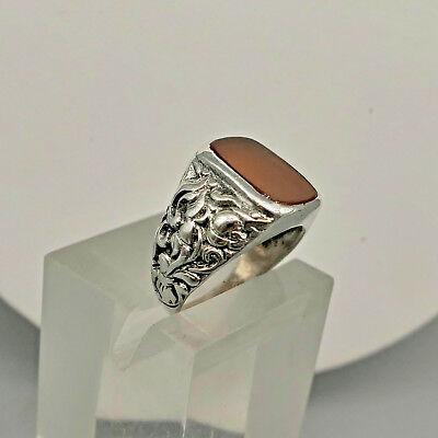 ❂ ► Antiker Ring mit Karneol, sehr schöne, florale Form, ungestempelt