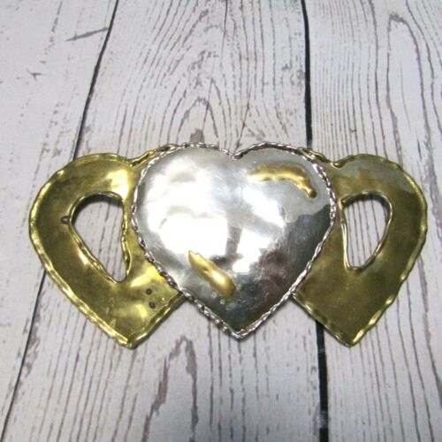 Metal Scarf Holder Slide Hammered Look Gold Silver Tone Three Hearts Buckle?